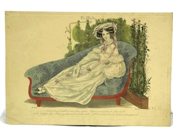Fashion Plate from La Mode. Antique French Fashion Illustration Engraving. Ready To Frame Art. Fashionista Gift.