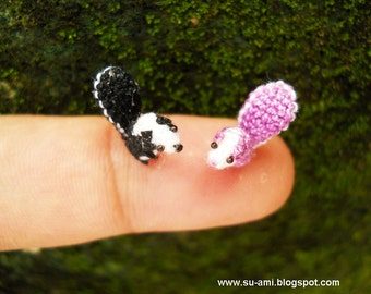 Cute Tiny Squirrels - Micro Crochet Miniature Animals Set of Two Squirrels Black and Purple - Made To Order