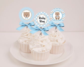 Printable Blue Teddy Bear Boy Baby Shower Cupcake Toppers - Instant Download