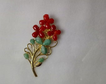 Genuine Natural AKA red coral 925 sterling silver brooch plated gold /no dye/gift for mother/gift for wife/gift for her/gift for woman#n037