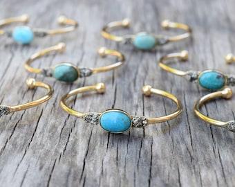 Gold Turquoise Cuff Bracelet, Raw Pyrite Druzy Bangle, Genuine Turquoise Stone, Bridesmaid Gift, Summer Jewelry, Turquoise Boho Bracelet