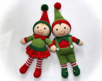 Christmas Elf Toy Knitting Pattern. Santa's Helpers. Toy doll knitting pattern. Christmas decoration.