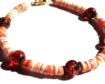Clearance Sale - Red Lip Heishi and Lampwork Bracelet, Red and White