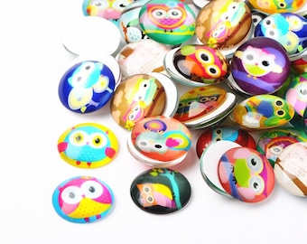 4pc 25mm mix glass cabochons with printed owl patterns-10300