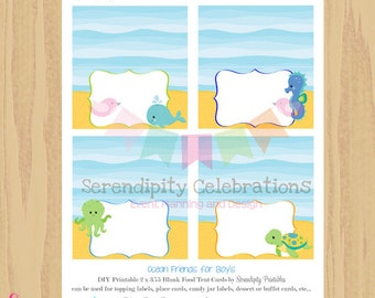 Instant Download Ocean Friends for Boys Collection: Printable Food Tent Cards -Food Label- Buffet Cards -Digital File -Ocean Animals