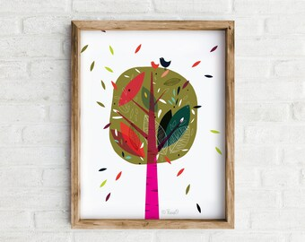 Art Print, Wall Art, Leaf Watching Colourful Print, Home decor