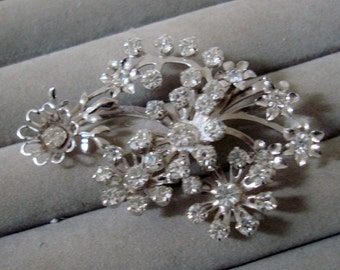 BROOCH/PENDANT COMBO, 1 1/2 X 2 1/2 inch , clear rhinestones. like new condition