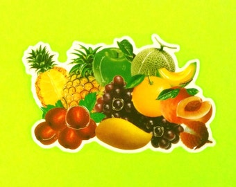 Fruit Bowl Medley Pineapple Cherries Banana Grapes Melons Berry Cute Food Super Retro Vintage 1980s Big Puffy Sticker Set - More Styles