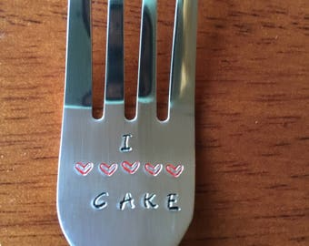 I (hearts) Cake ~ Hand Stamped Fork. Unique Gift. For the Cake Lover in Your Life.  New Flatware