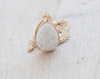 Druzy Teardrop Necklace, Opal White Bezel Wrapped Quartz , Gold , Rose Gold, Sterling Silver - Confetti Cream ( As Seen on Law & Order SVU )