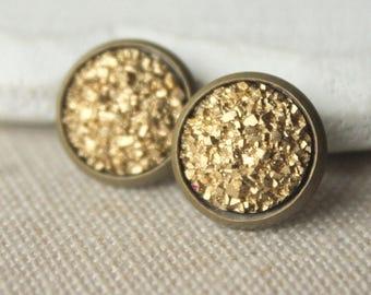 Gold Druzy Studs