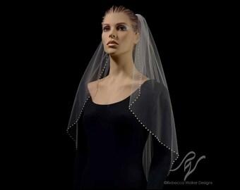 Bridal Wedding Veil with Half Inch Pearl Edge, Made With SWAROVSKI  ELEMENTS
