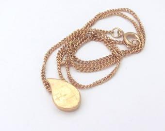 Vintage Teardrop Necklace Pendant Minimal Goldtone Raindrop Slider Pendant Dainty Petite Gift for Teen Tween Woman Rain