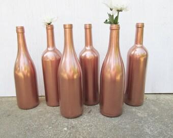 Painted Wine Bottle-Flower Vases- Matallic Rose Gold - Set of 6- Rustic/Wedding/Baby Shower/Centerpieces/Bridal Shower/Reception