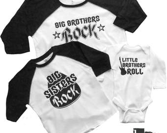 Little Brothers / Sisters Roll - Big Brothers / Big Sisters Rock Matching Baseball Tees and Long sleeve onesie