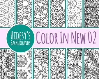 Color In Detailed Adult Level Coloring 02 Digital Paper Patterns / Backgrounds Commercial Use Backgrounds
