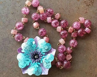 A Pretty Blue and Purple Morning Glory flower Necklace  from Wendy Baker