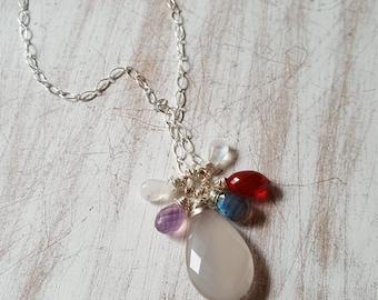 Multi Gemstone Cluster Necklace