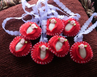 Vagina Ornament Four Pack Little Red Rose - iFelt Vaginas Goddess Cancer Awareness