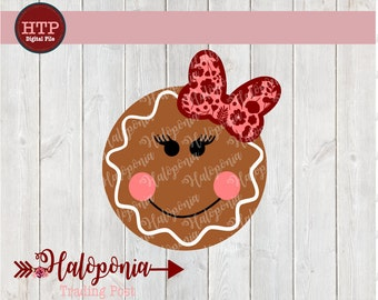Holiday Gingerbread Girl Face  with Bow SVG File