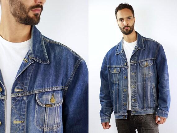 Denim Jacket LEE Jean Jacket Dark Blue Jean Jacket Lee Denim Jacket 90s Jean Jacket Blue Jeans Jacket Large Denim Jacket Lee Grunge Jacket