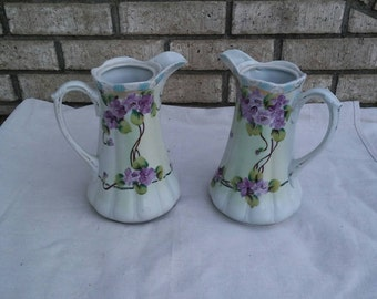 2 vintage made in Japan porclain hand painted flower pitchers