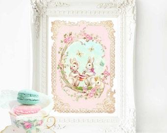 Rabbit nursery decor print in pink, a bunny rabbit tea party,  A4 giclee