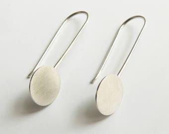 Long Silver Earrings Circles