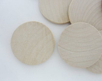 "12 Wooden 1.5"" Circles, 1.5 inch wooden disc, wooden disk 1 1/2"" x 1/8"" thick unfinished DIY set of 12"