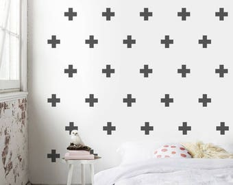 Swiss Cross Decal, Wall Pattern Decal, Wall Decals, Pattern, Wall Stickers, Plus Wall Pattern, Cross Wall Decal, Plus Sign Sticker