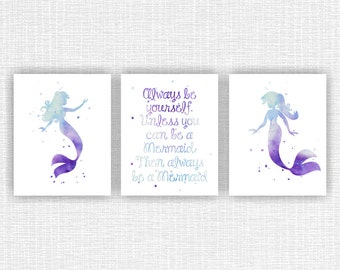 INSTANT DOWNLOAD Little Mermaid Wall Art, Mermaid Wall Decor, Ariel  Watercolor Silhouette, Mermaid Girl Room Decor Art Set Of 3, 8x10