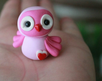 Valentine's Day Polymer Clay Owl - Miniature Owl - Mini Clay Owl - Fairy Garden Accessory - Terrarium Accessory – Garden Decoration