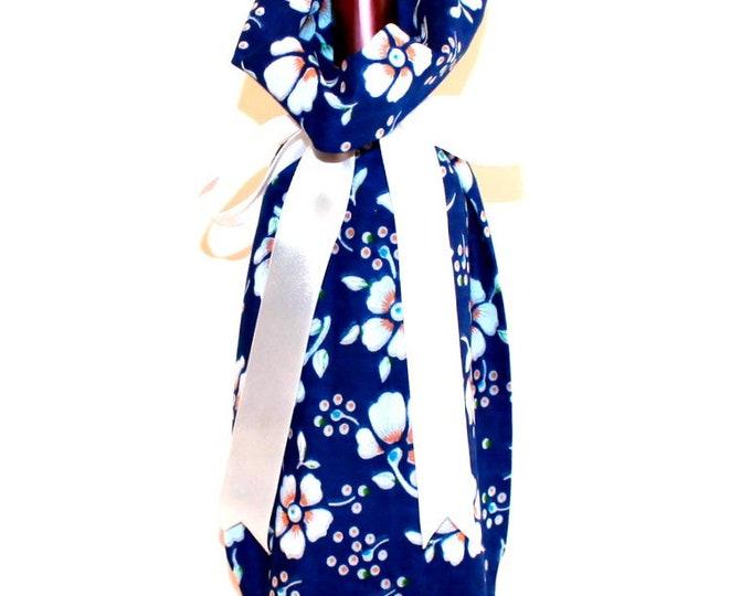 WINE GIFT BAG ~ Floral on Blue ~ Sack ~ Tote ~ Bell Art Designs WB05