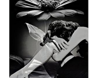 Black and white, flower goddess, modern art, photography, digital art, photomontage, digital print, contemporary, fine art, home decor