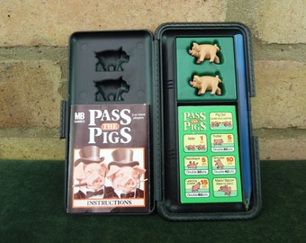 vintage MB Games Travel Pass the Pigs  in original box in excellent condition