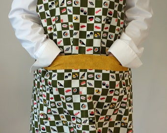Japanese Apron, Sushi Apron, Bib Apron, One-of-a-kind Apron