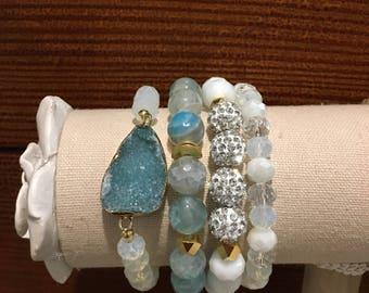 Turquoise and gold gemstone bracelet set