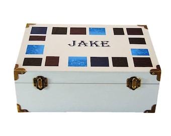 Personalized Men's Trinket Box - Modern Keepsake Box Blue and Gray  Men's Wooden Box Bride to Groom Gift Bedside Storage Box Best Man Gifts