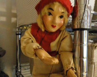 C697)  Vintage 1930s Hazelle Marionette Puppet  Kansas City, MO   Peasant Girl