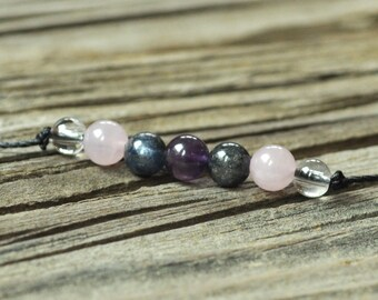 Dream Meditation Yoga Bracelet, Kyanite, Amethyst, Rose Quartz, Minimalist Jewelry, Hypoallergenic, Yoga Bracelet