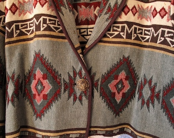 Vintage Southwest Tapestry Jacket Cowgirl Western Southwestern Country Size Large Green Red Brown