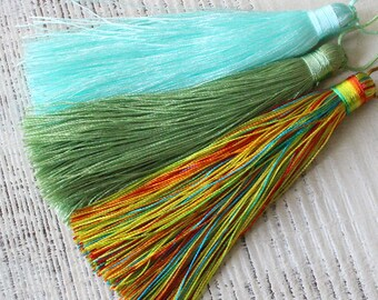 Large Silk Tassels for Jewelry Making Supply - Jewelry Tassels -3 3/4 Inch Mala Tassels - Choose Color - 2 Tassels