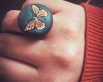 Hand Made Clay Cabochon in Antiqued Brass Adjustable Setting- Butterfly, hand painted