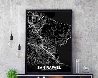 SAN RAFAEL California CA usa map poster black white wall  design modern scandinavian minimal nordic housewarming travel bedroom