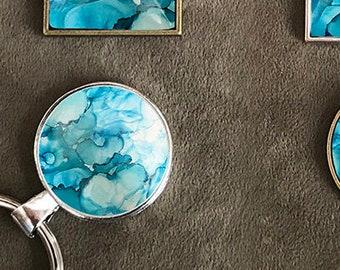 Pendant | Keychain - Fluid Art - Wearable Art - Inspirational Gift - Functional Art - Colorful Encouragement called Seaside Sunshine