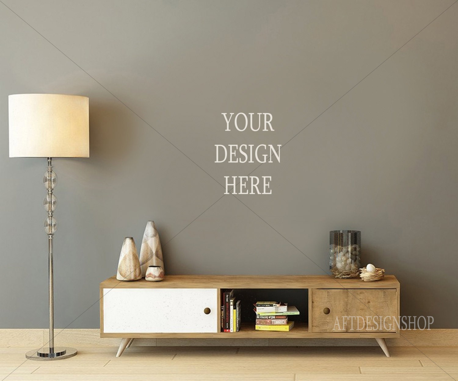 Blank Wall Photography Styled Desk Stock Product