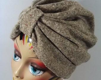 Wool, silk, fashion turban, hat, beige, full turban, winter, vintage style, designer, chemo. Size  Sm, Med, L, XL. Free shipping in USA.