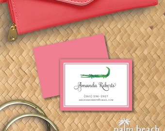 Preppy Alligator Calling Cards - Personalized Pink & Green Watercolor Business / Mommy Personal Phone Email Contact Card Set