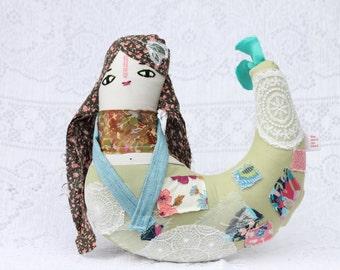 "Mermaid Doll | ""Hope"" | OOAK | Upcycled | Fabric Doll"