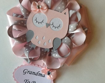 Owl baby shower corsage/Pink and grey owl baby shower corsage/Grandma to be corsage/Mommy to be corsage/Daddy to be corsage